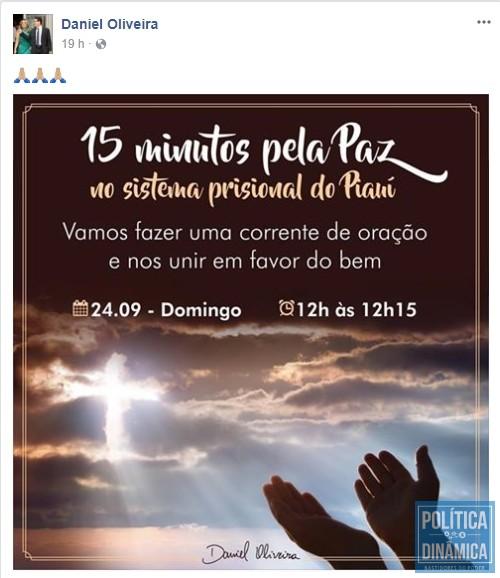 A postagem no perfil de Daniel Oliveira (Foto: Reprodução)