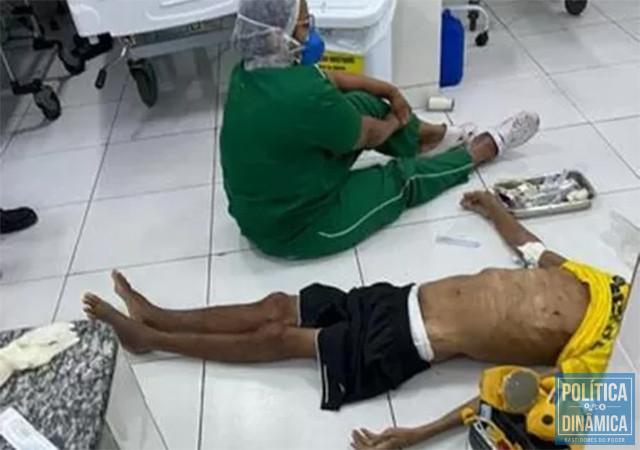 Na fila de espera por uma UTI, um idoso de 86 anos morreu sem conseguir ao menos uma maca, perdeu a vida no chão e na gestão de Doutor Pessoa (foto: redes sociais)