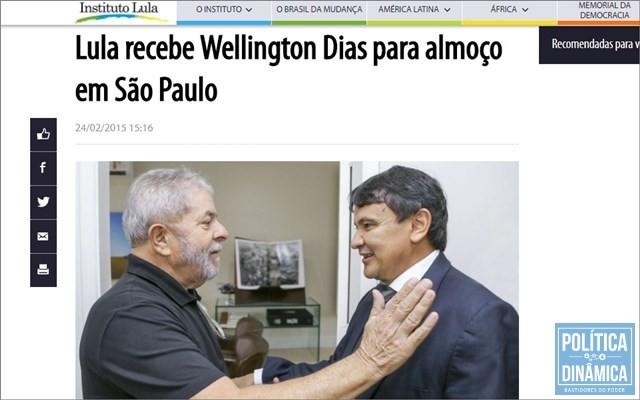 Após agenda administrativa, Dias almoçou com Lula (Foto: Reprodução/InstitutoLula)