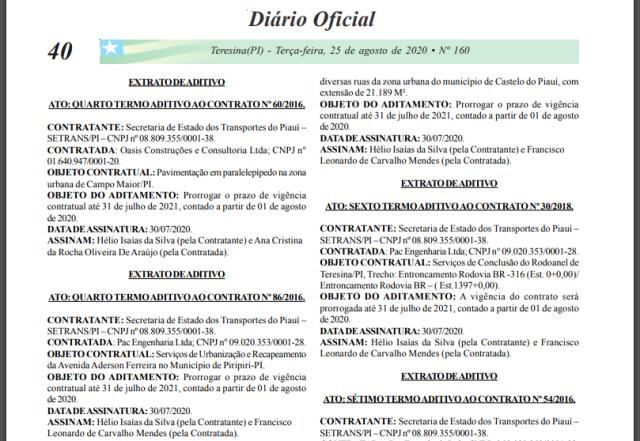 Alguns dos contratos que foram prorrogados (Foto: Reprodução/Diário Oficial Piauí)