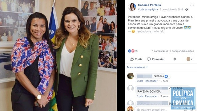 Nas redes sociais, deputada Iracema parabenizou (Foto: Reprodução/Facebook)