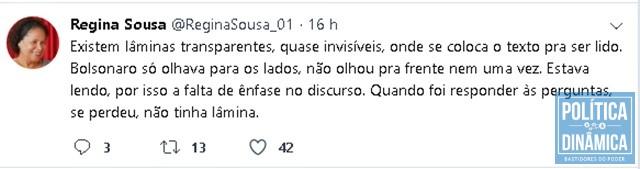 on sale c5fd6 4a4dc Postagem no Twitter critica discurso do presidente (Foto   Reprodução Twitter)