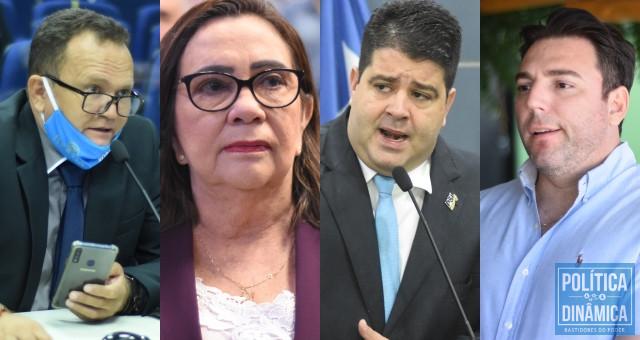 Vereadores de Teresina: Capitão Roberval (DEM), Teresinha Medeiros (PSL), Luís André (PSL) e Markin Costa (DEM).